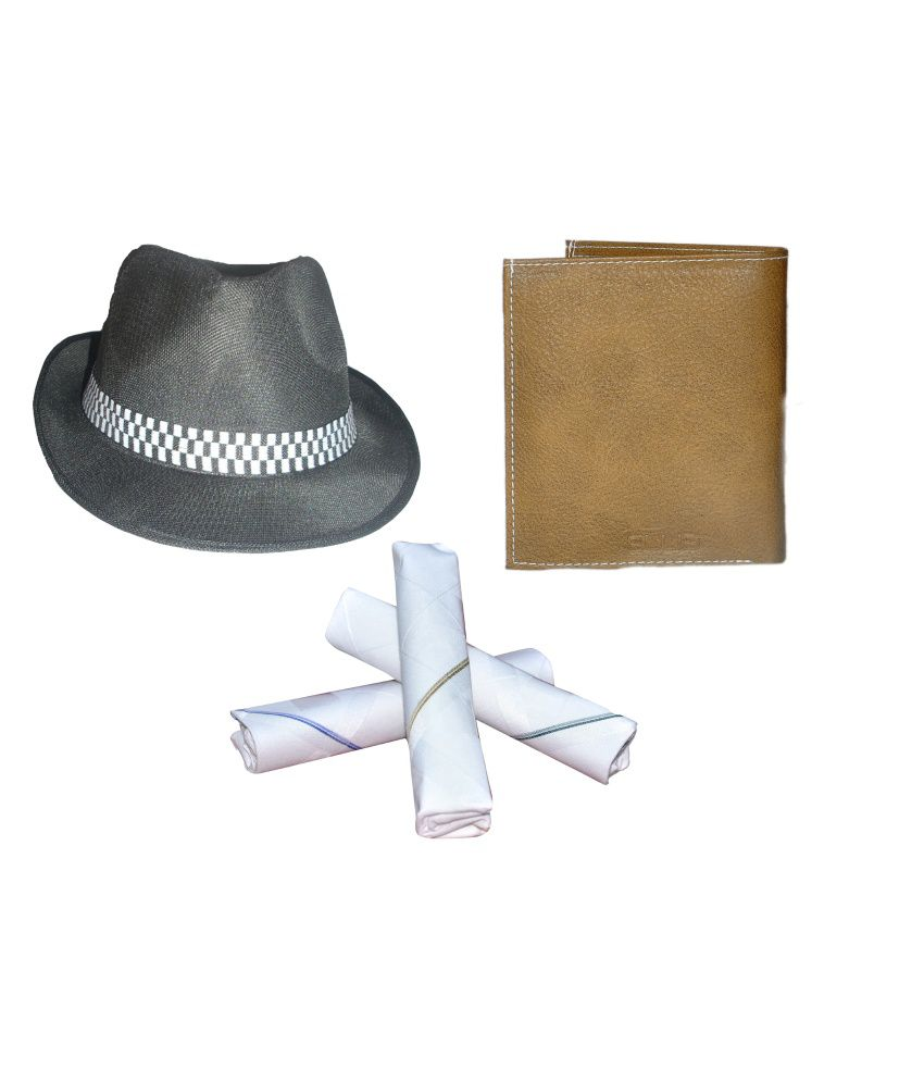 Ellis Black Fidora Hat With Free Wallet, 3pcs Cotton Hanky
