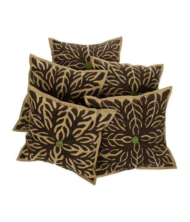 Rajrang  Patch Work Cushion Covers - (16 X 16 Inches) (Set of 5 Pcs)