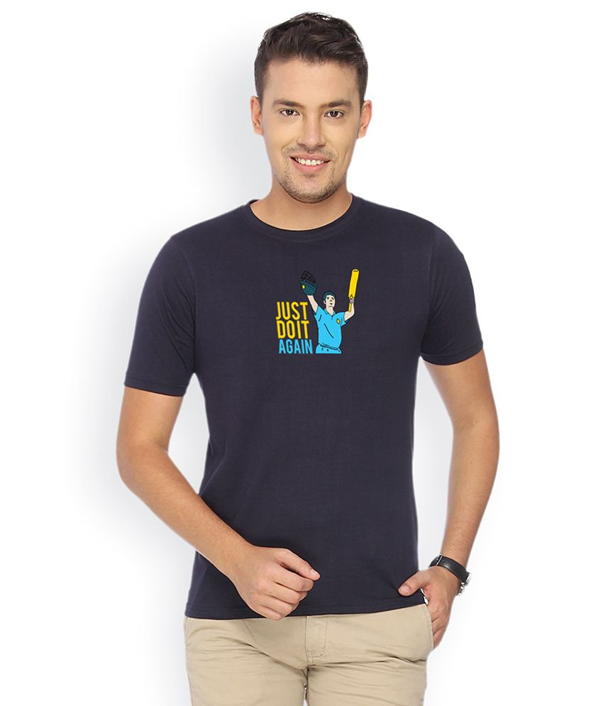 Campus Sutra Navy Blue Round Neck Tshirt Just Do It Again