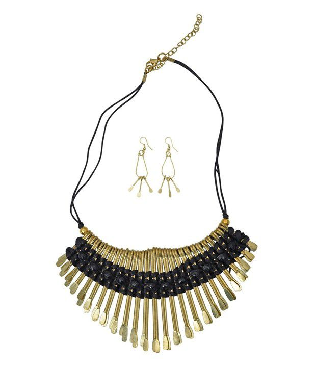 Hawai Black Spiked Thread Necklace Set