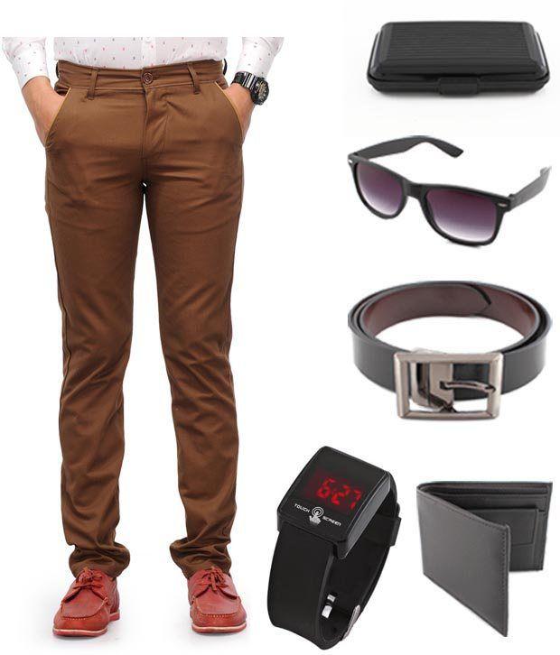 Keepsake Brown Chinos With Wallet , Belt , Watch , Wayfarer Sunglasses , Cardholder Combo