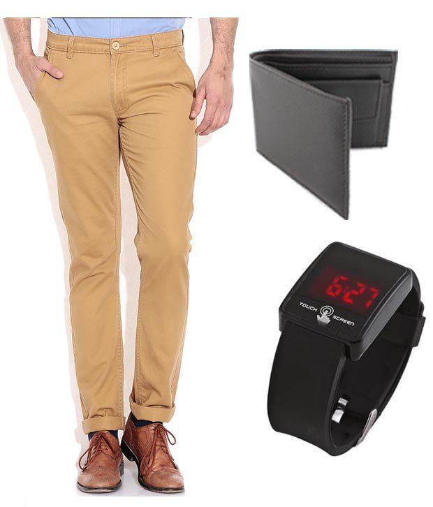 Keepsake Khaki Chinos With Wallet , Watch Combo