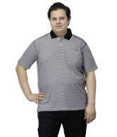 Pluss White And Black Basics Cotton Half Sleeves Men Polo T-shirt