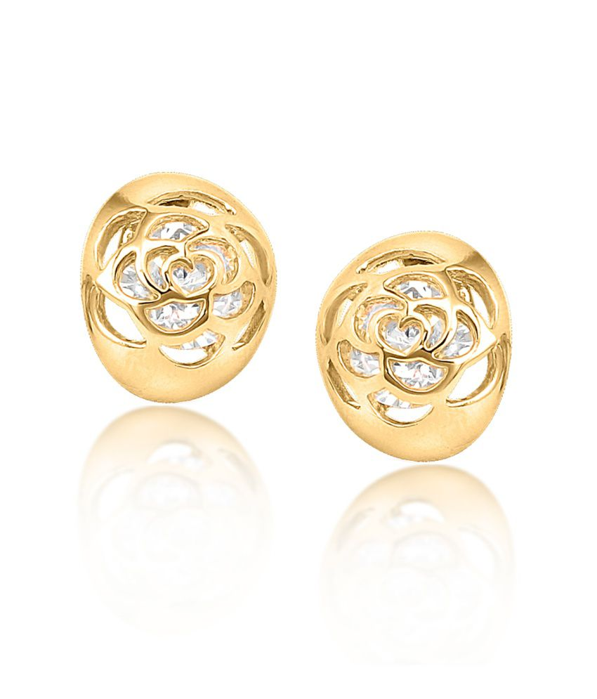Big Tree 18k Gold Plated Cz Diamond Enclosed Rose Earring For Women