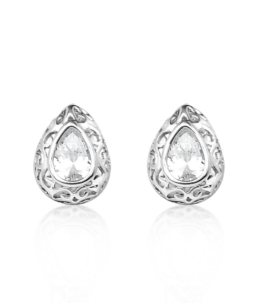 Big Tree 18k White Gold Plated Silver Filigree Cz Earring For Women