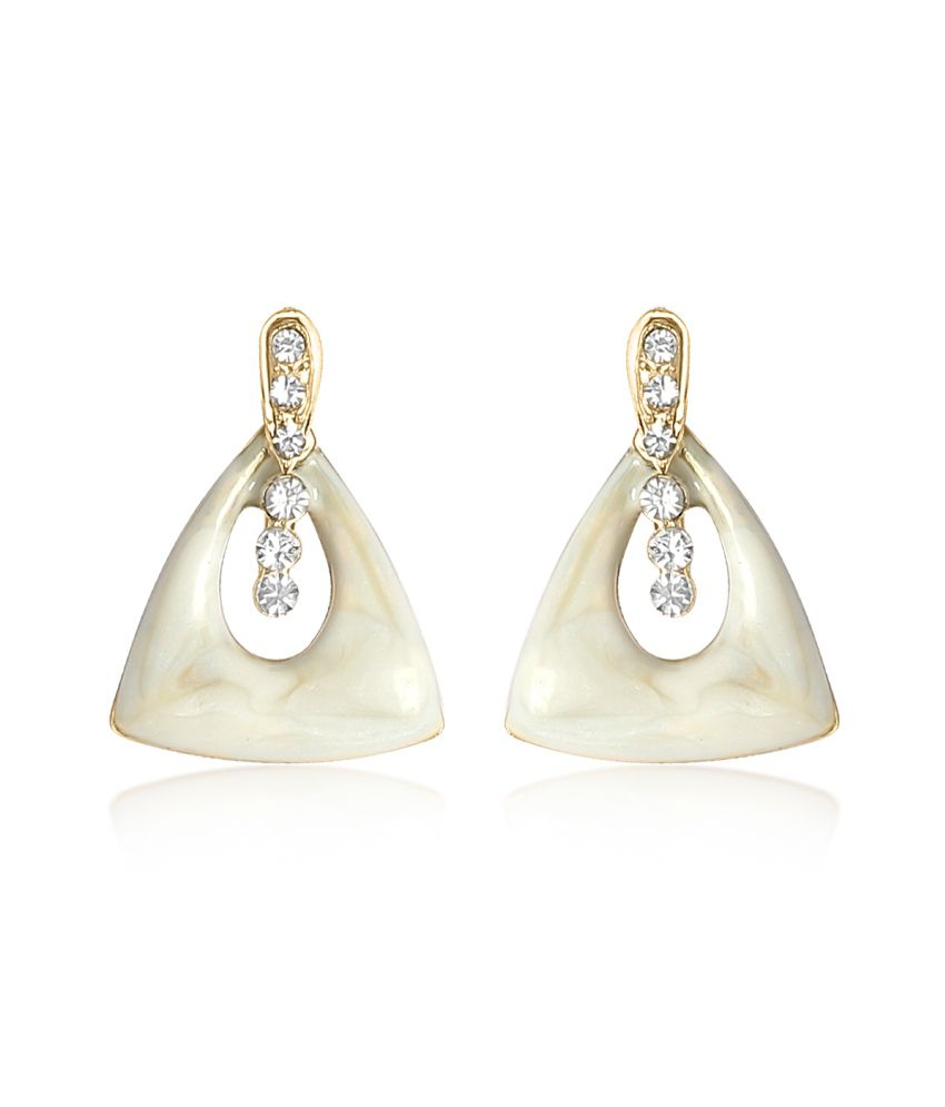 Big Tree White Triangle Drop Earrings For Women
