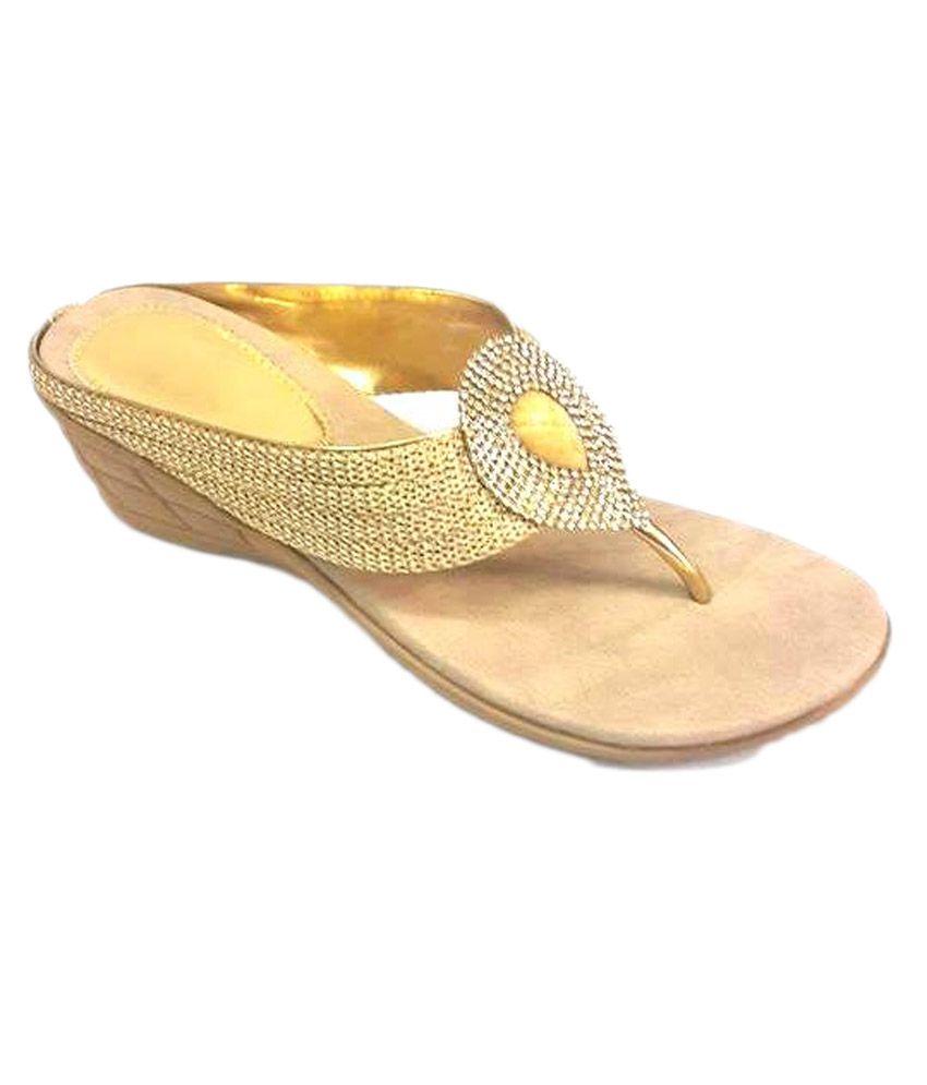 Bootwala Gold Medium Heel Party Sandals