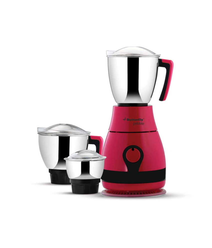 Butterfly Pebble 3 Jar 600 Watt Mixer Grinder Pink