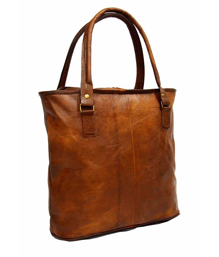 57d9a5f804 Digital Rajasthan Brown Vintage Genuine Leather Tote Bag - Buy ...