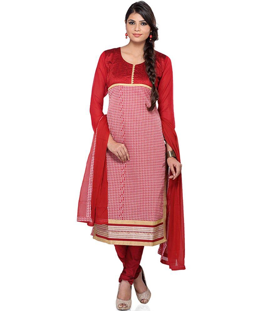 Indusdiva Red Cotton Straight Cut Kameez And Churidaar