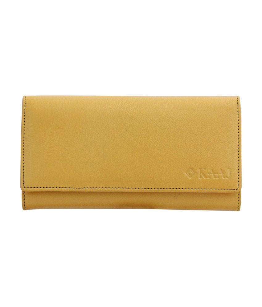 Kaaj Premium Yellow Genuine Leather Women Long Wallet