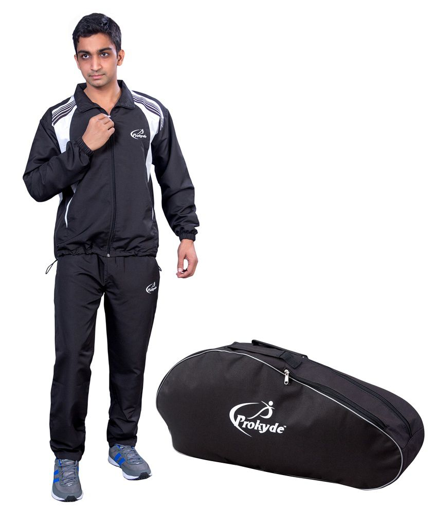 Prokyde Black Tracksuit, Black Badminton Kit Bag Combo 1