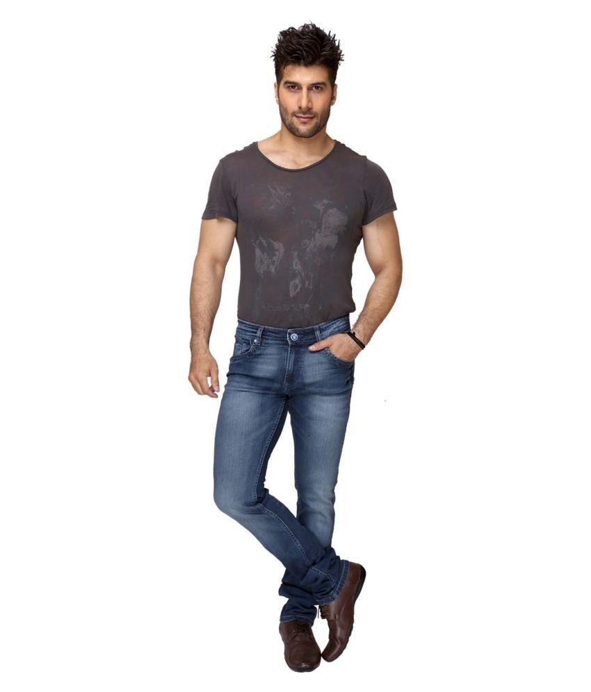 Squash Blue Cotton Faded Jeans