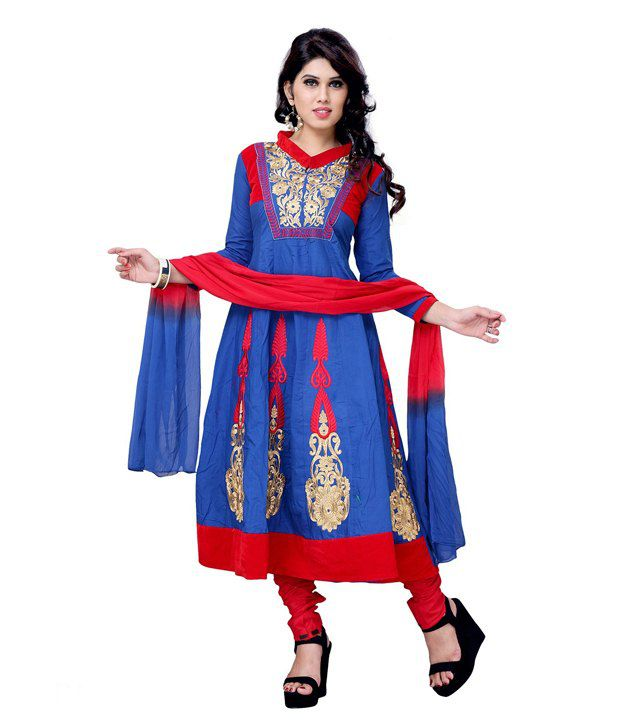 101cart Blue And Red Cotton Party/festive Wear Cotton Anarkali Dress Material