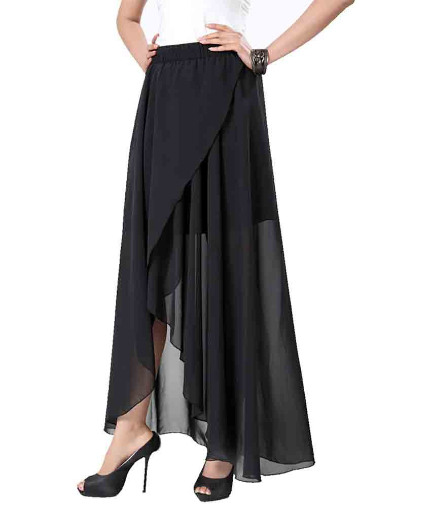 Buy Eavan Black Georgette Skirts Online at Best Prices in India ...