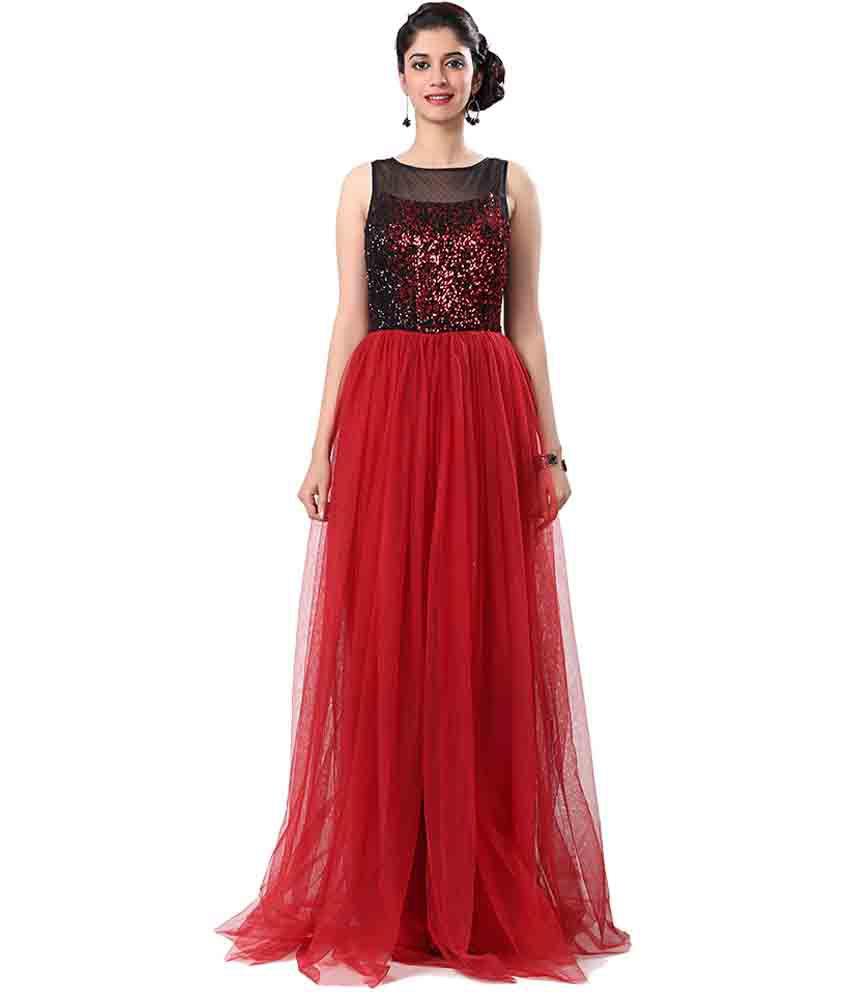 adec7aa2858 Eavan Maroon Net Gowns Price in India