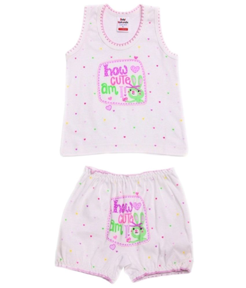 Naturelle Purple And Yellow Coloured Printed Twin Set For Infants