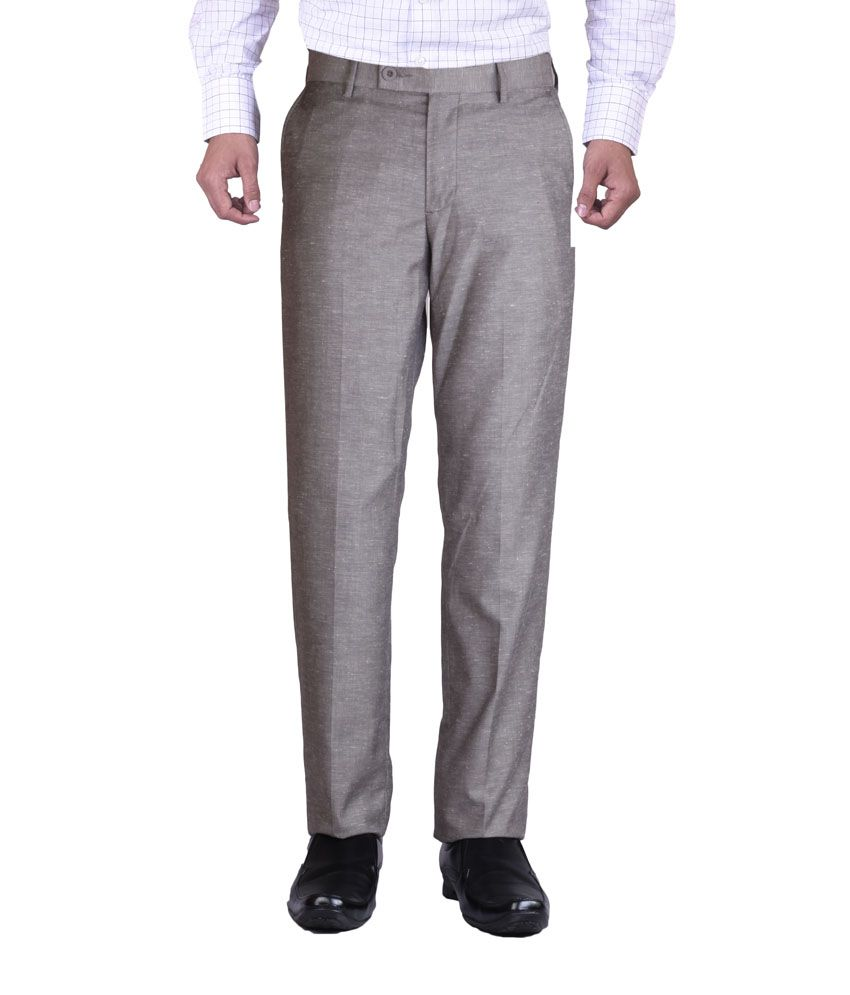 Promo Land Gray Cotton Slim Fit Flat Formal Trouser