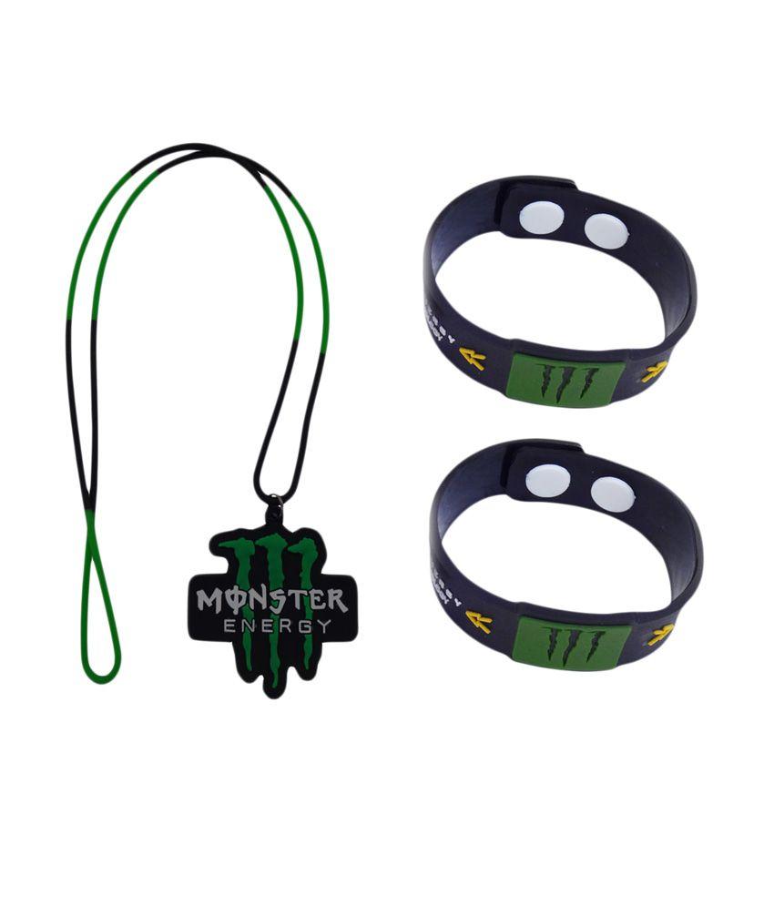 Monster Multi Rubber Designer Wrist Band - Combo Of 3