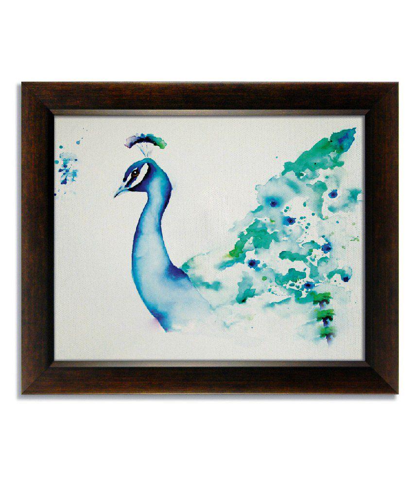 Stybuzz Astonishing Peacock Frameless Canvas Painting