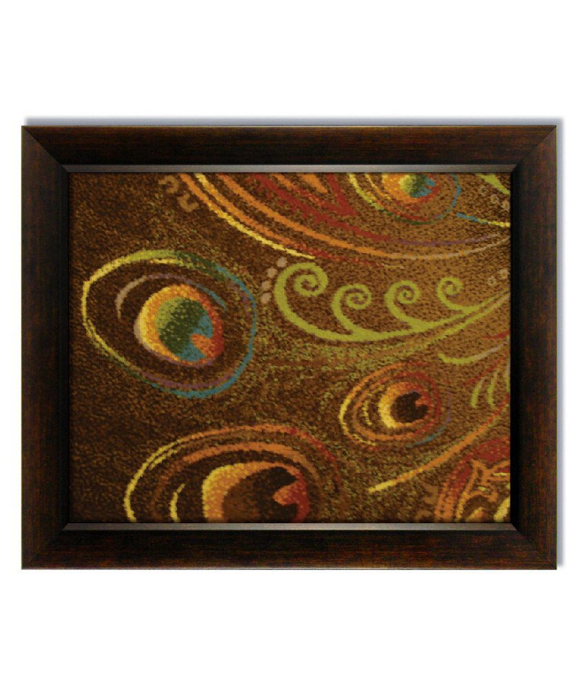 Stybuzz Brown Peacock Feather Frameless Canvas Painting