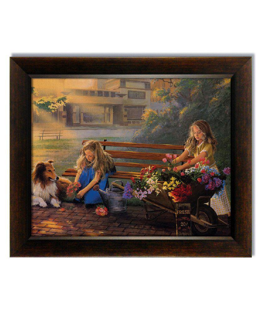 Stybuzz Flower Selling Girls Frameless Canvas Painting