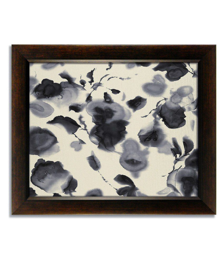 Stybuzz Gray And White Frameless Canvas Painting