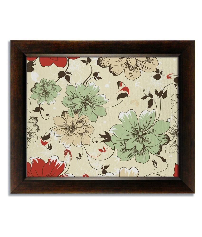 Stybuzz Green Floral Frameless Canvas Painting