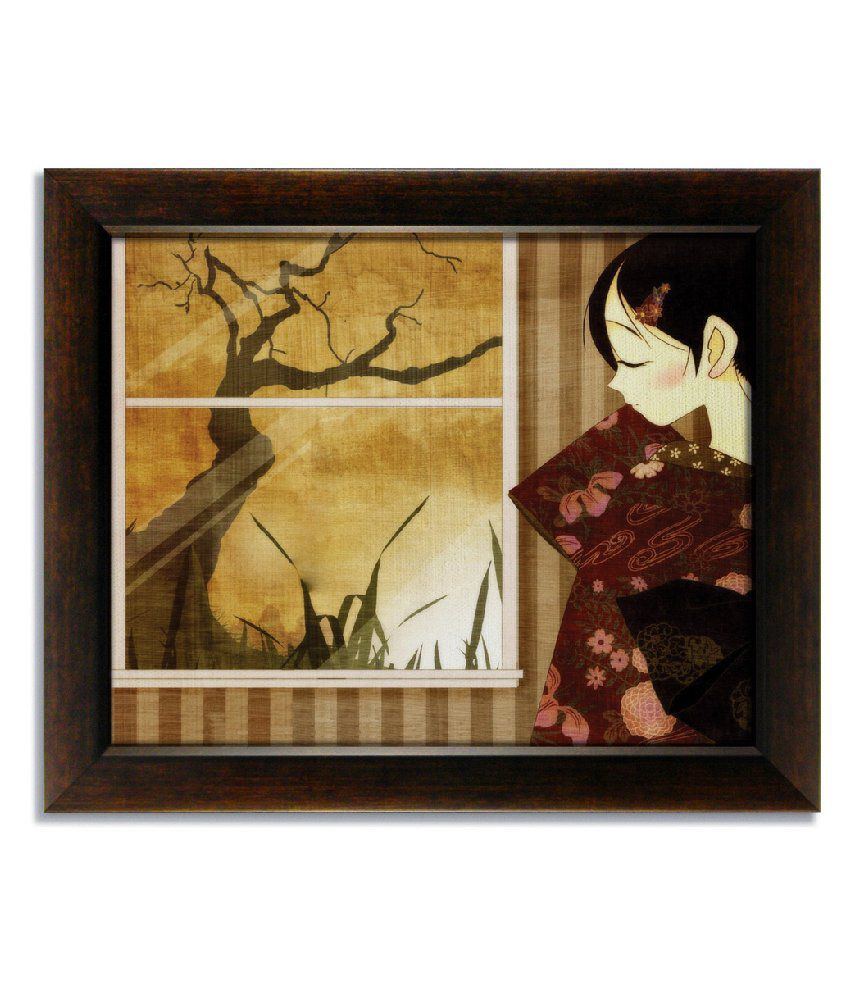 Stybuzz Japanese Girl Frameless Canvas Painting