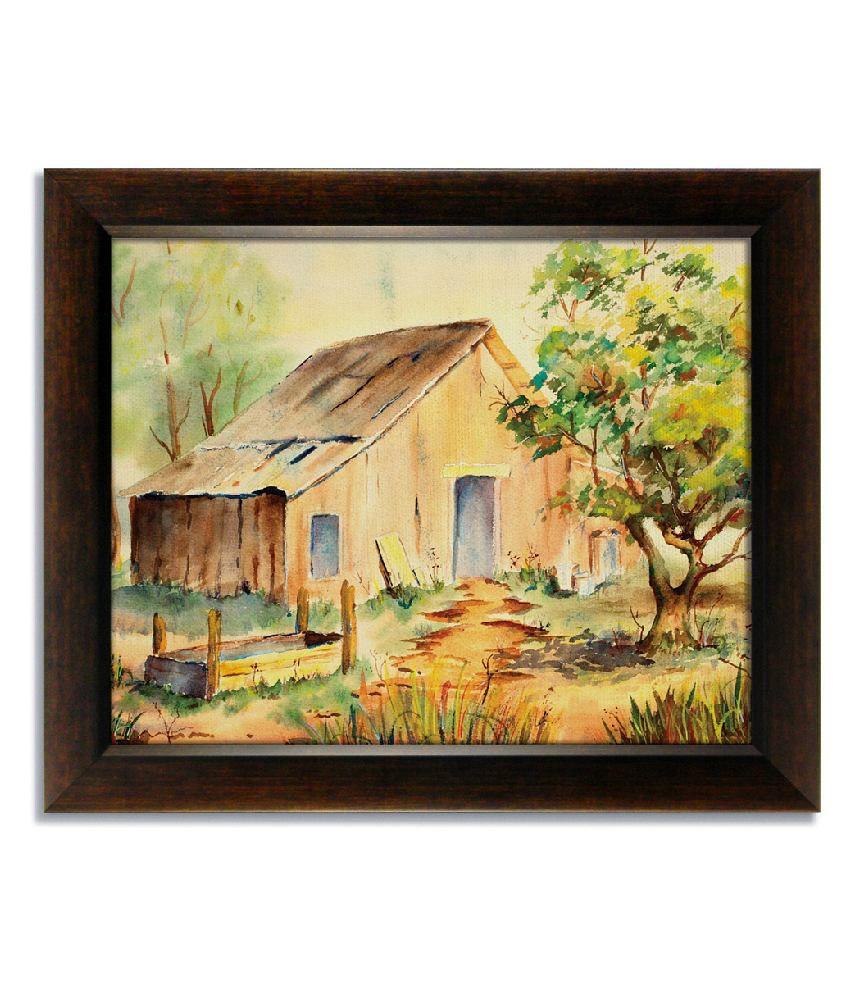 Stybuzz Village Hut Frameless Canvas Painting: Buy Stybuzz Village ...