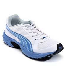 Puma Brent White & Blue Sports Shoes