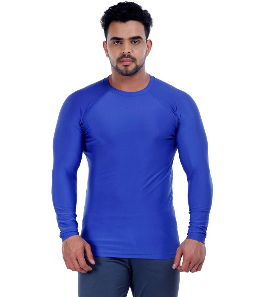 Rudra Creations Royal Blue Spandex Polyster Full Sleeves Round Neck T-shirt
