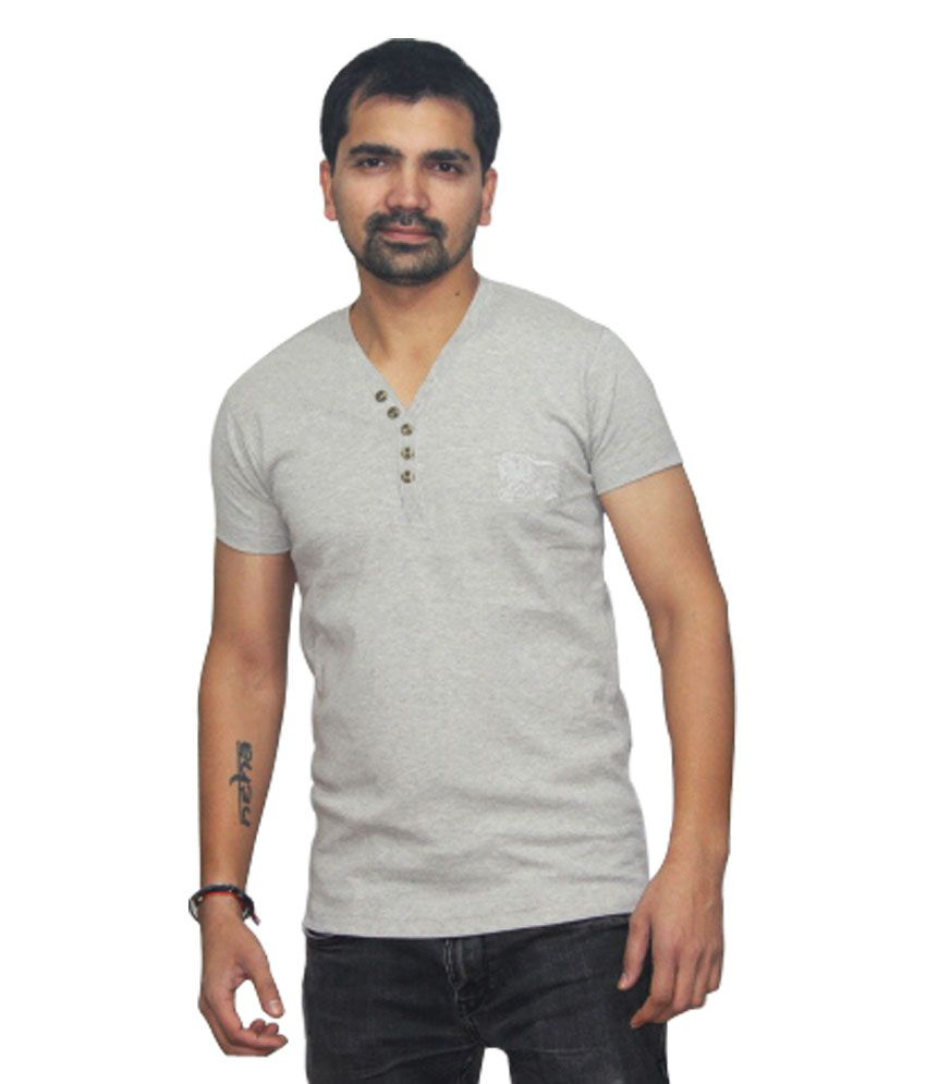Sat Gray Half Sleeves Cotton T-shirt For Men