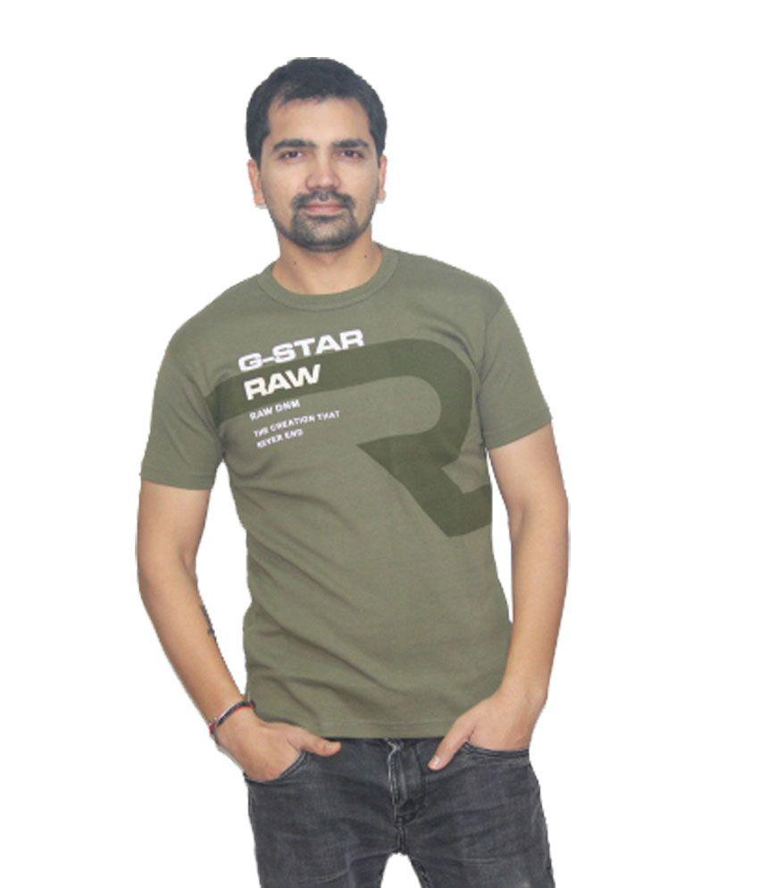 Sat Green Half Sleeves Cotton T-shirt For Men