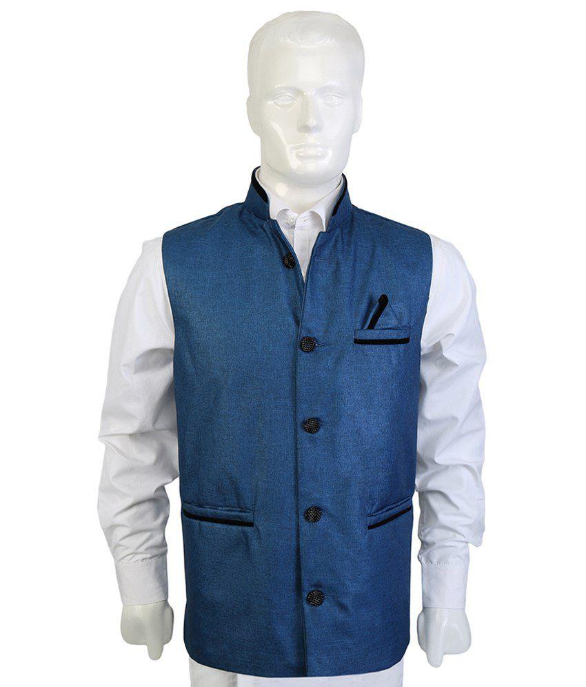 Selfieseven Eye Catchy Blue Waistcoat
