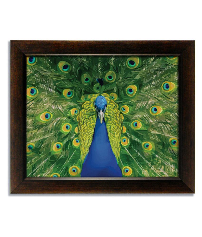 Stybuzz Beautiful Green Peacock Frameless Canvas Painting