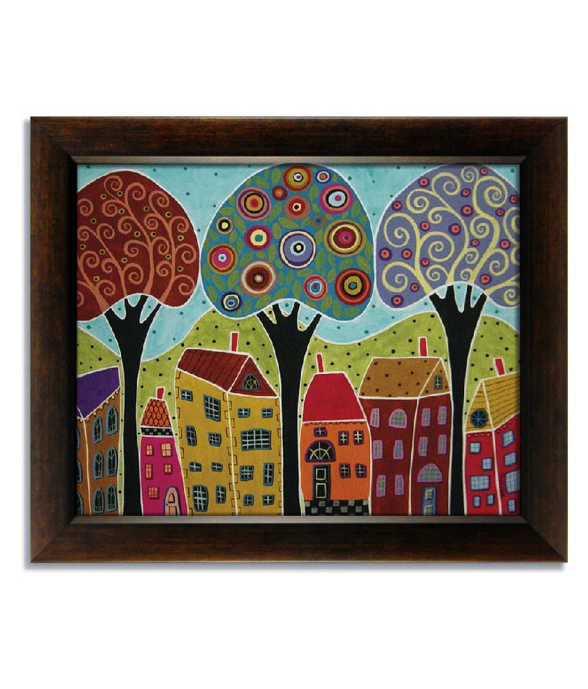 Stybuzz Three Tree Modern Frameless Canvas Painting