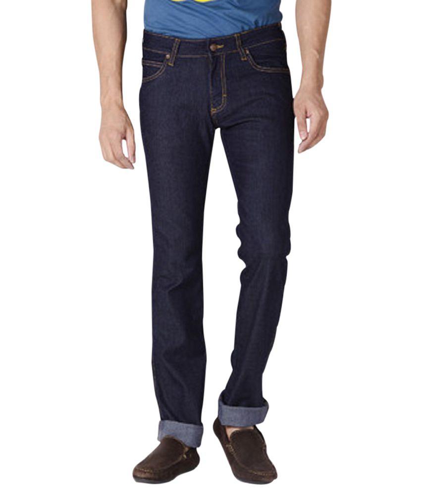 Wrangler Blue Cotton Blend Slim Fit Jeans