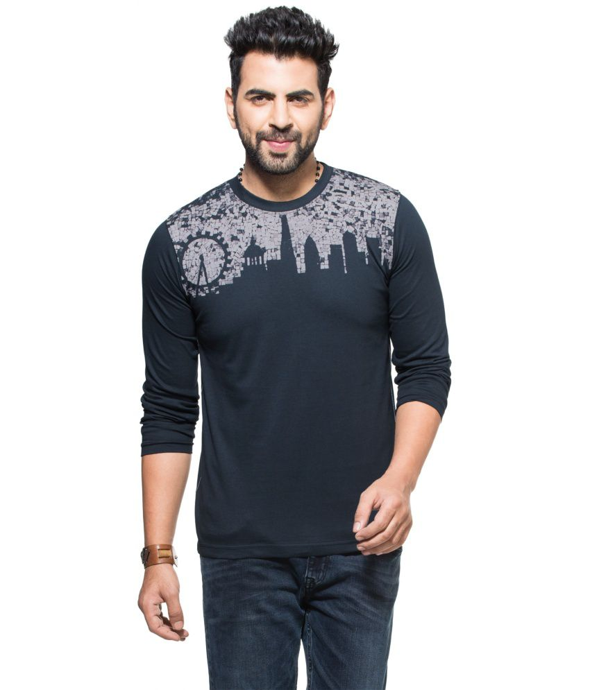 Zovi Black Cotton Round Neck Full Sleeves T-shirt