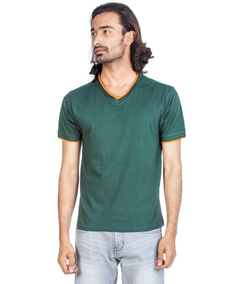 Zovi Green Cotton V-neck Half Sleeves T-shirt