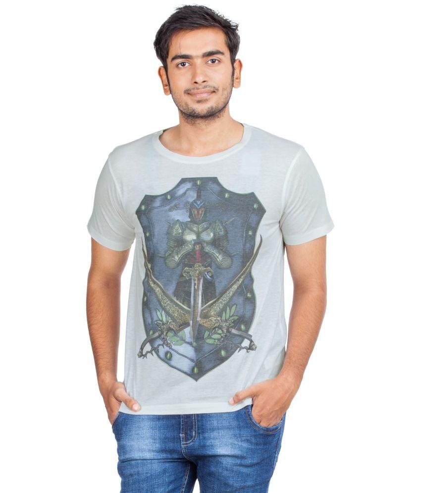 Zovi White Cotton Blend Round Neck Half Sleeves T-shirt