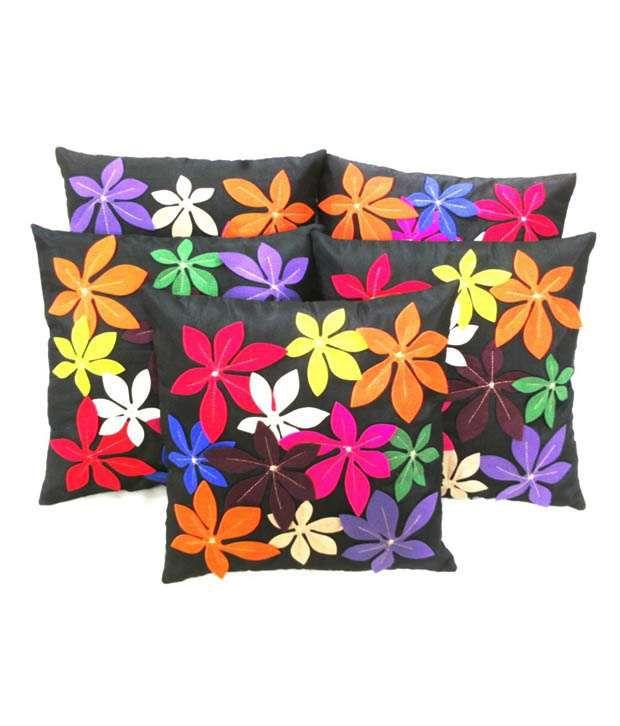Car Vastra Black Floral Polyester Cushion Covers-5pcs
