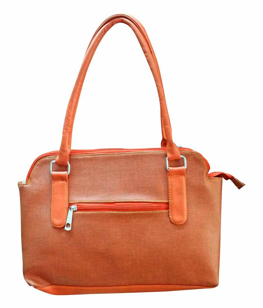 Cute Collection Orange Leather Hand Bag