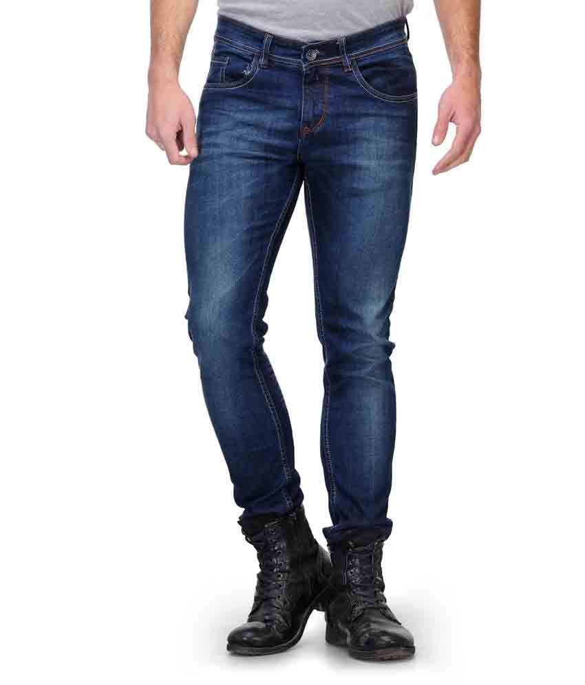 Fever Blue Cotton Faded Jeans For Men