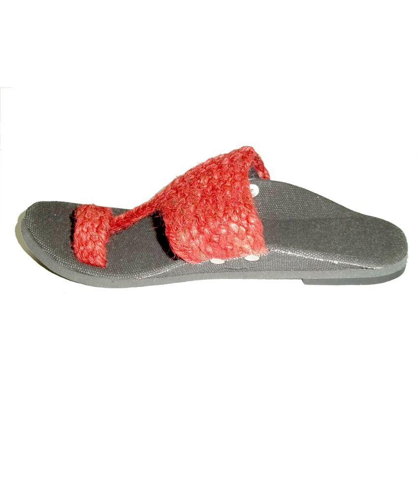 Panahi mens jute fabric kohlapuri red sandal