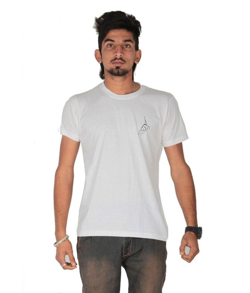 Posh 7 White Printed Cotton T Shirt