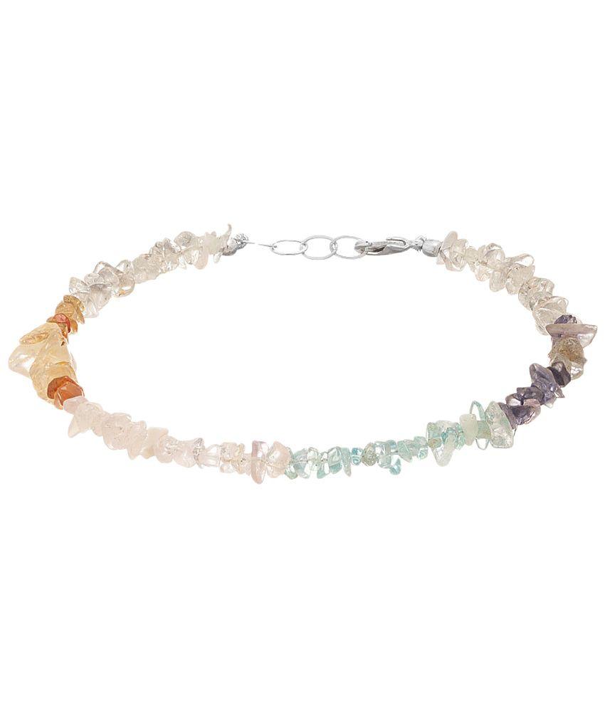 Voylla Elegant Silver Toned Coloured Bead Single Anklet