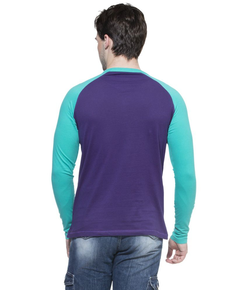 684aec6a Zovi Purple Cotton Henley Neck Full Sleeves T-shirt - Buy Zovi ...