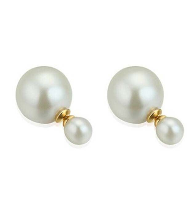 Amour Trendy Double Sided Big Pearl Stud Earrings