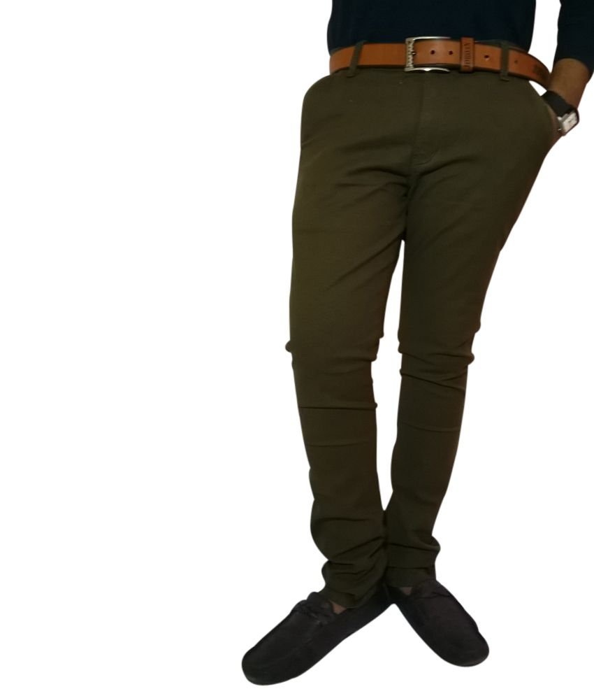 Cool Pad Stretchable Cotton casual trouser for Men - Dark olive